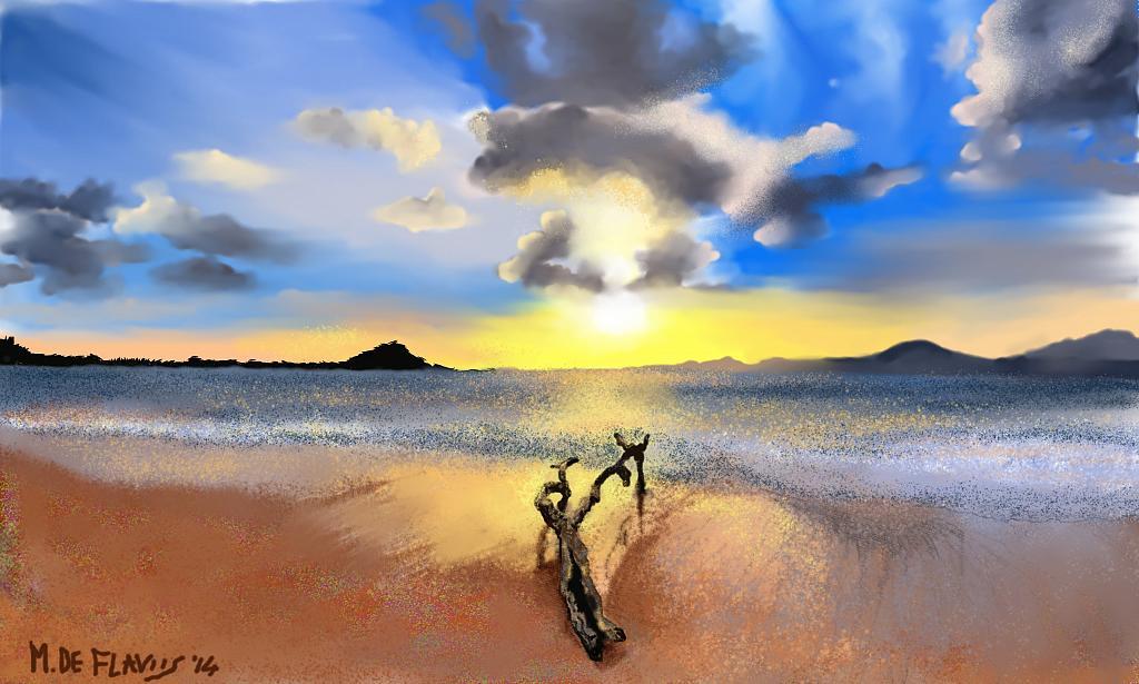 Tronco sulla sabbia - Michele De Flaviis - Digital Art