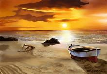Barca rossa e bianca - Michele De Flaviis - Digital Art