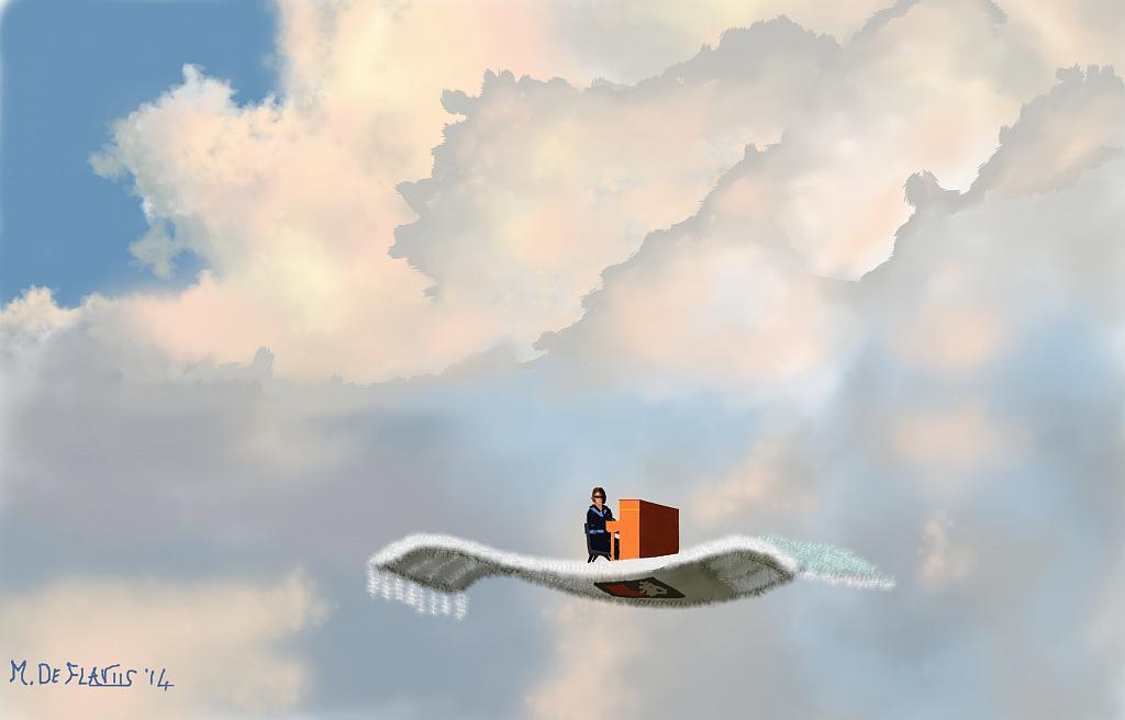Pianista suona su tappeto volante - Michele De Flaviis - Digital Art
