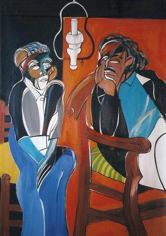 Vincent Van Gogh e Paul Gauguin - Gabriele Donelli - Olio - 2600 €