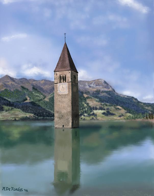 Campanile nel Lago di Resia - Michele De Flaviis - Digital Art