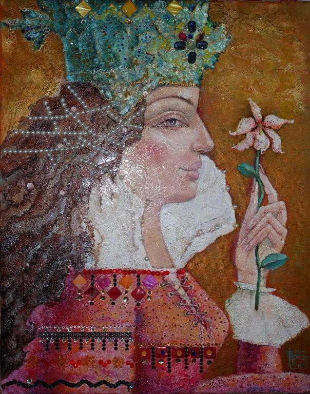 """""""Orchidea selvaggia"""" - Viktoriya Bubnova - olio, stucco,tecnica utilizzata con impiego di multimateriale 3D, come olio, acrilico, vetro, legno , metallo, , polvere metallica, pigmenti preziosi, stras-"""
