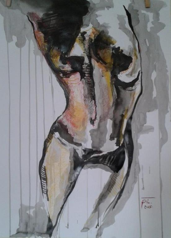Nudo femminile - Silvia Tschauschev - china, carboncino,pastello su cartone - 120 €