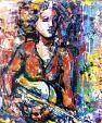 La ragazza con la chitarra - tiziana marra - tecnica mista