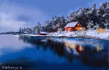 Paesaggio norvegese al tramonto - Michele De Flaviis - Digital Art