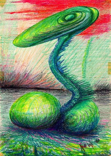 mutante verde - daniele Rallo  - Pastelli - 100 €