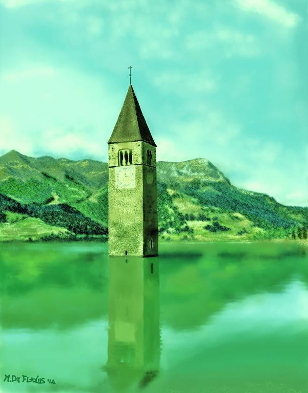 Campanile nel Lago di Resia2 - Michele De Flaviis - Digital Art