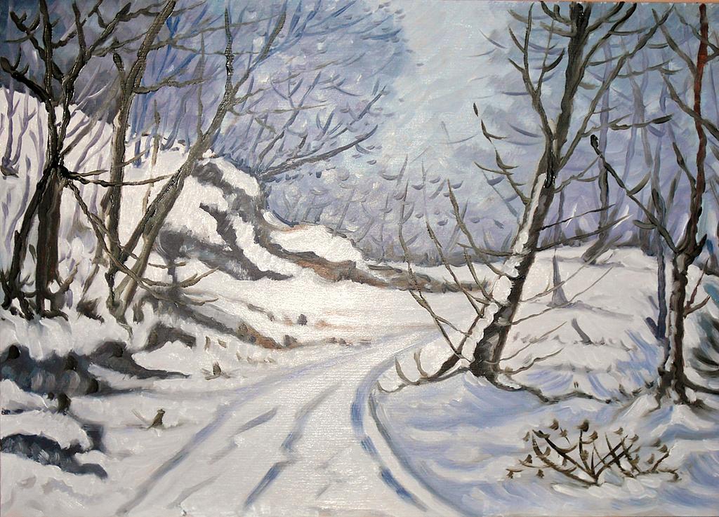 Paesaggio invernale - Pietro Dell Aversana - Olio - 115 €