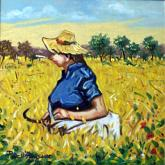 La spigolatrice - Pietro Dell Aversana - Olio - 85€