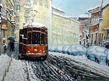 Milano paesaggio invernale - Pietro Dell Aversana - Olio - 300€