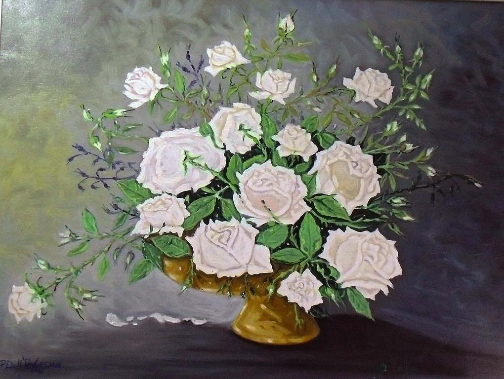 Rose bianche - Pietro Dell Aversana - Olio - 300 €