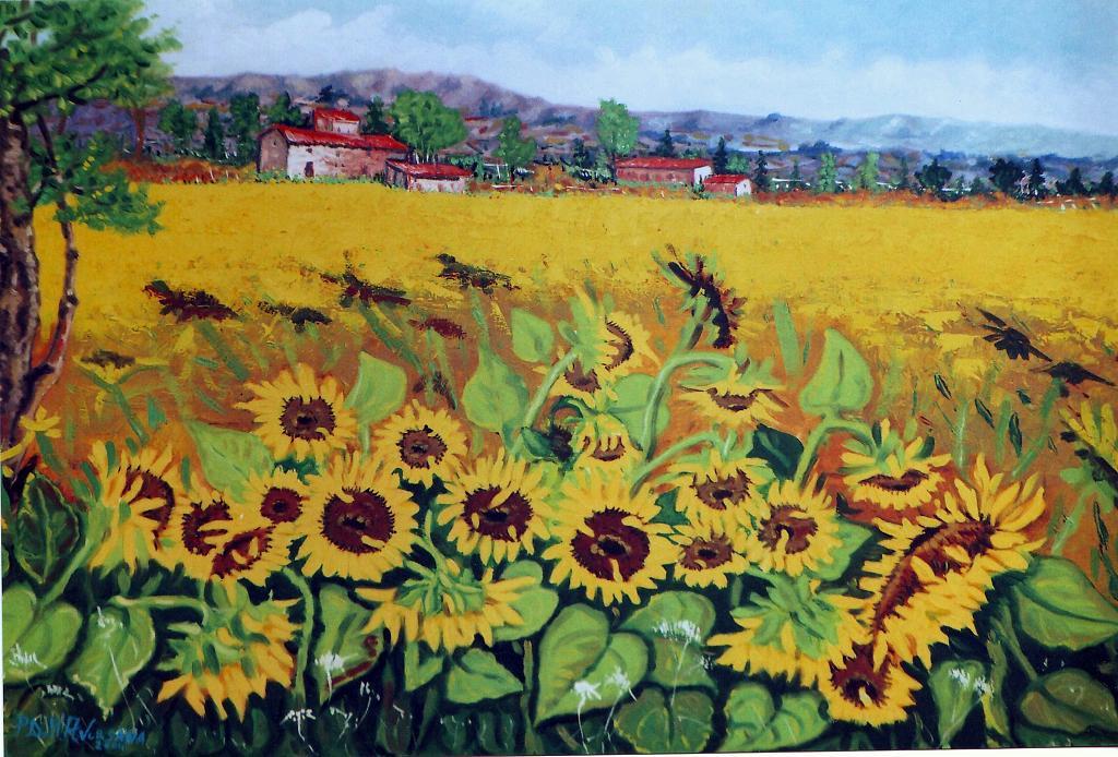 Paesaggio con girasoli - vendita quadro pittura - ArtlyNow