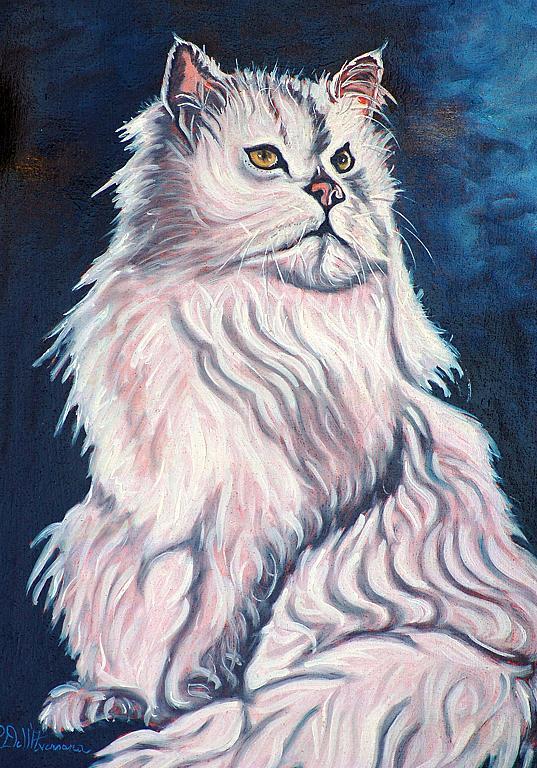 Gatto bianco - Pietro Dell Aversana - Olio - 230 €