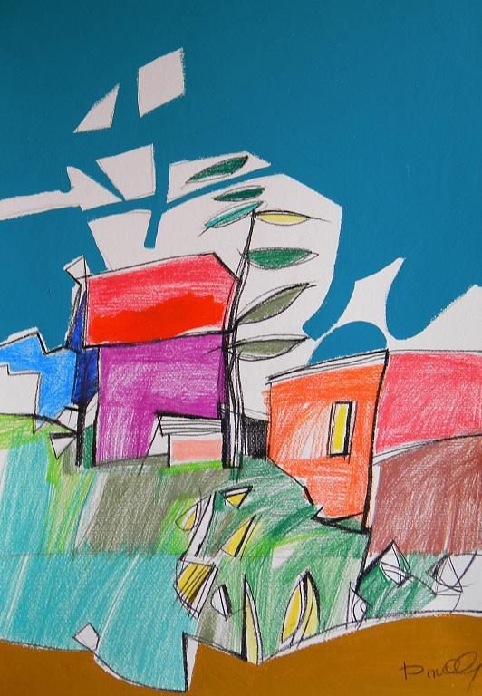 Paesaggio - Gabriele Donelli - Pastelli e acrilico - 250 €