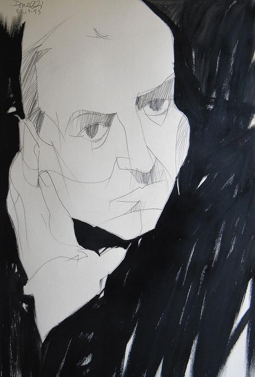 Ritratto di Goffredo Parise - Gabriele Donelli - Matita e acrilico - 600 €