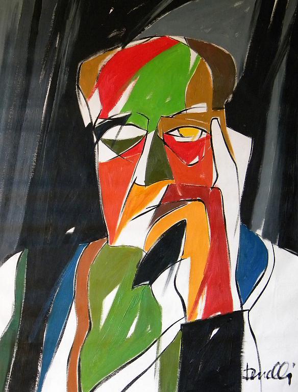 Ritratto di Alberto Moravia - Gabriele Donelli - Olio - 600 €
