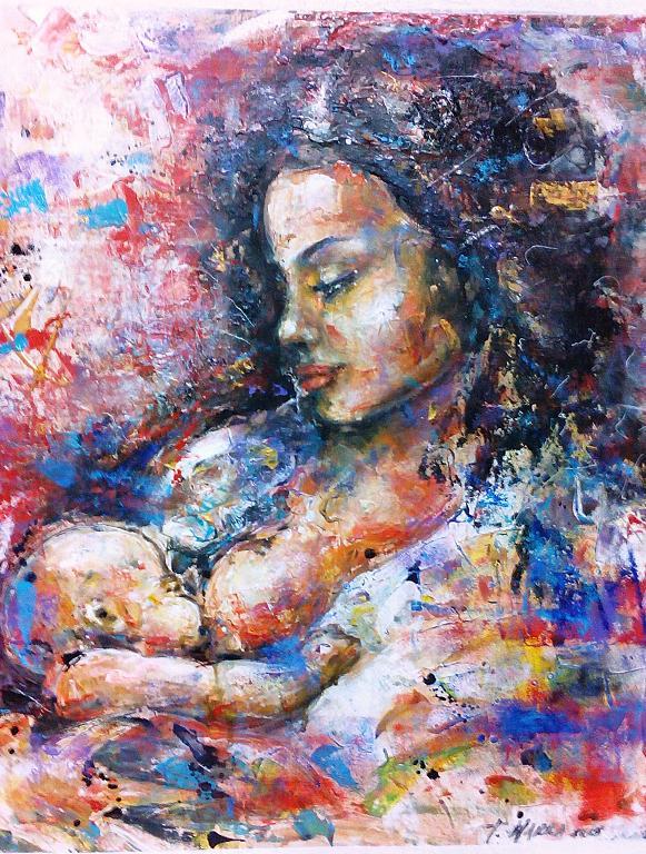 Maternità Rossa - tiziana marra - Tecnica mista - 350,00 €