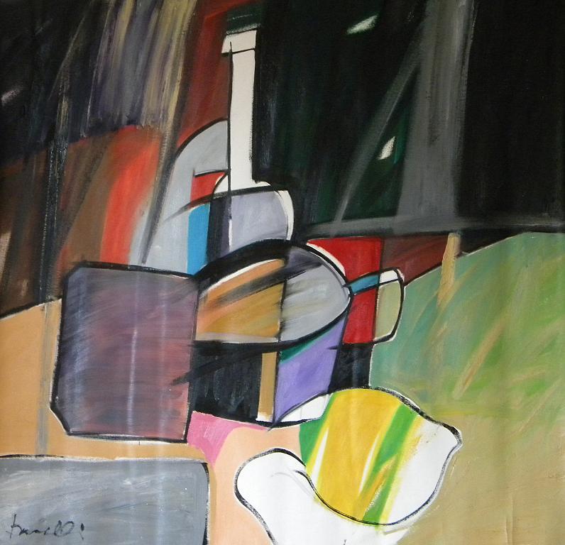Bottiglia,tazza,limone e altri oggetti - Gabriele Donelli - Olio - 600 €