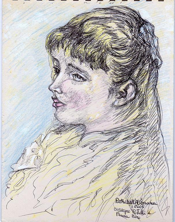Ritratto di fanciulla - Pietro Dell Aversana - Pastelli - 40 €