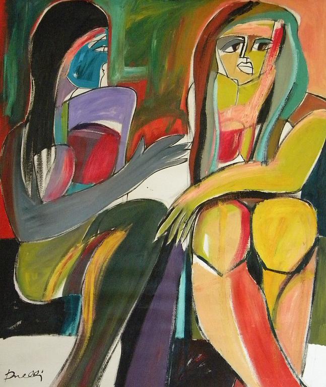 Due ragazze che conversano - Gabriele Donelli - Olio - 600 €