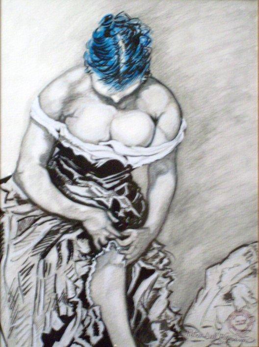 Donna che si aggiusta il vestito - Pietro Dell Aversana - Carboncino