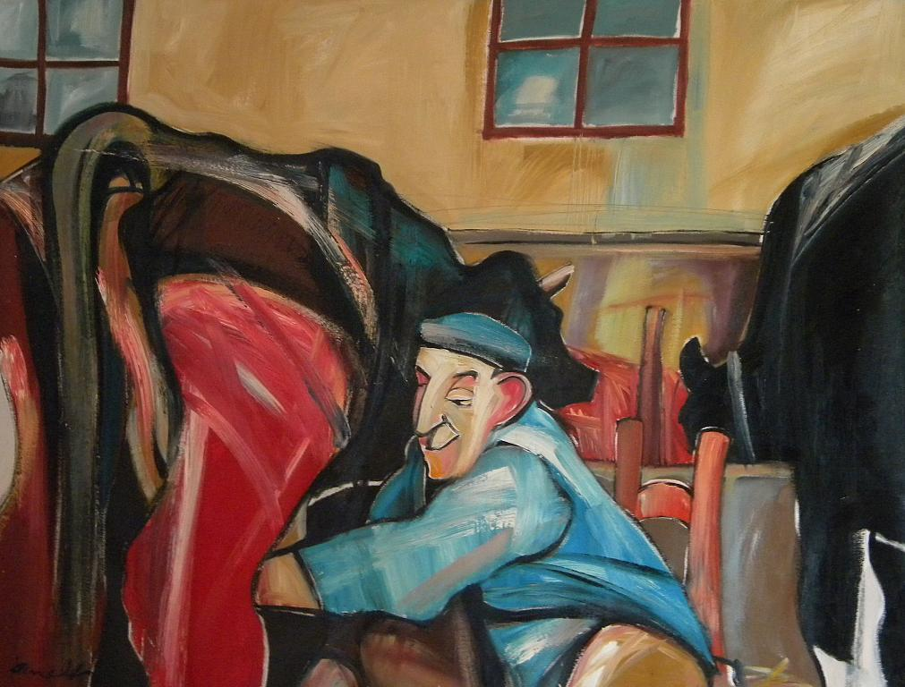 Nella stalla - Gabriele Donelli - Olio - 600 €
