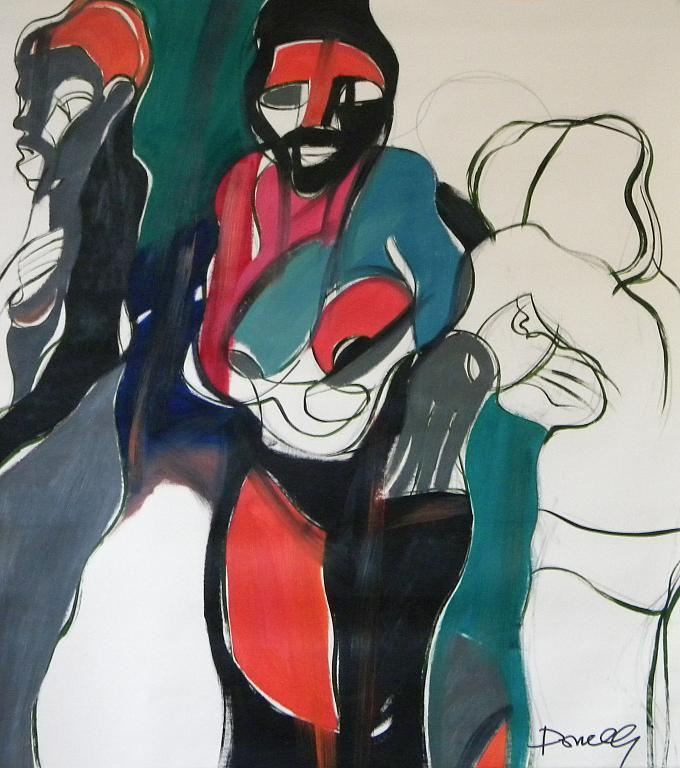 Tre africane in spiaggia - Gabriele Donelli - Olio - 400 €