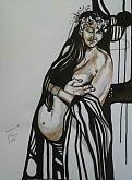 Destino - Silvia Tschauschev - china, carboncino, matita, pastello su cartone - 130€