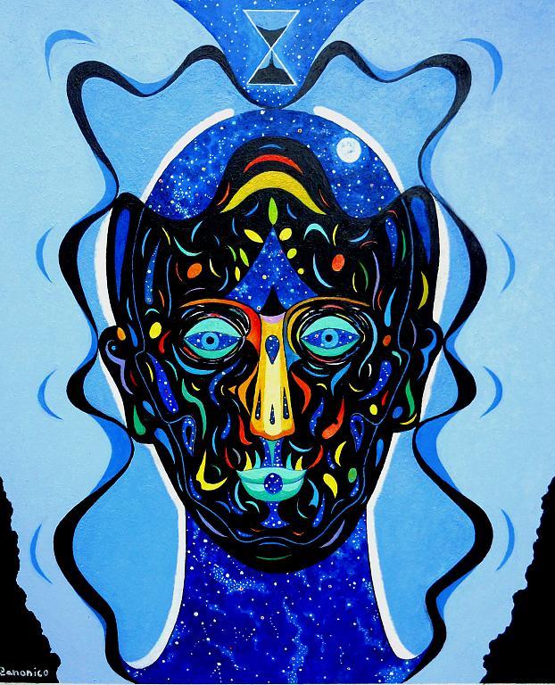 La maschera e il volto - Costantino Canonico - Olio - 1800 €