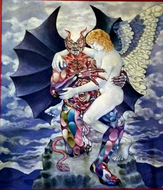 Angelo e demone - Costantino Canonico - Olio