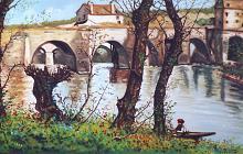 Paesaggio con ponte - Pietro Dell Aversana - Olio - 275€