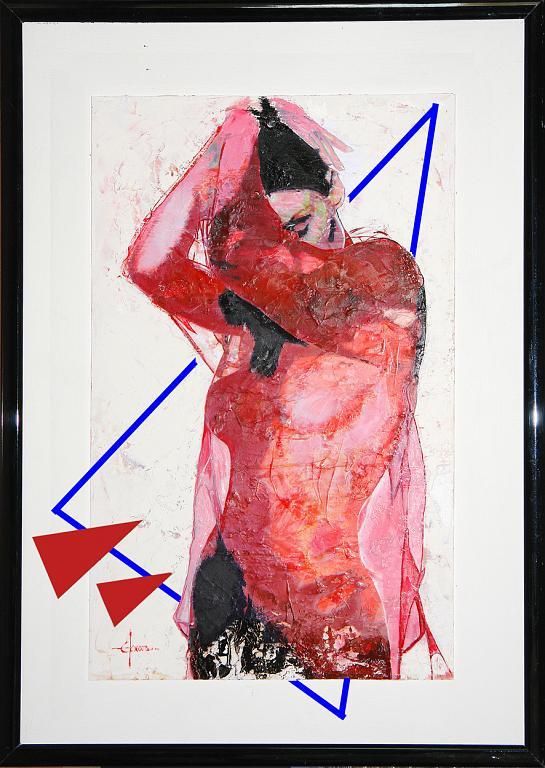Nudo con velo rosso - mista su tavola - Ezio Ranaldi - olio e gesso su tavola - 2200 €