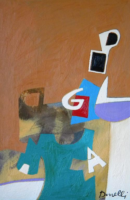 Spazio e oggetti in una struttura metafisica - Gabriele Donelli - Olio - 700 €