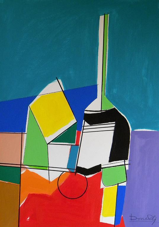Bottiglia e altri oggetti su di un tavolo - Gabriele Donelli - Acrilico - 600 €