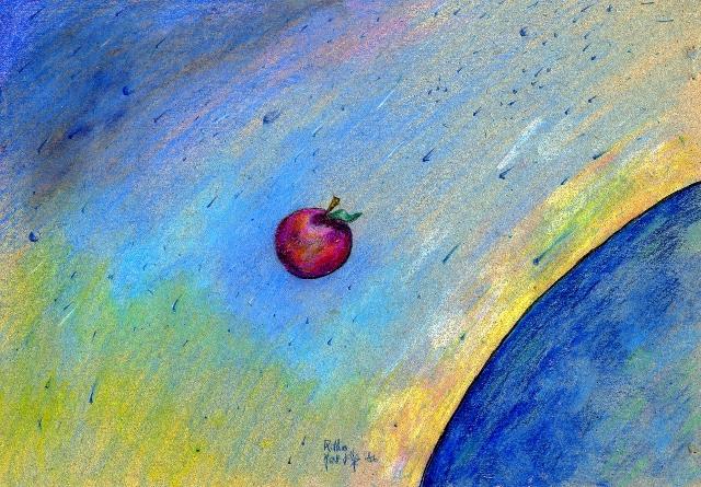 la mela e l'universo - daniele Rallo  - pastello - 30 €