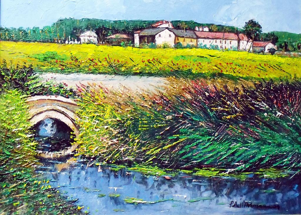 Paesaggio lombardo - Pietro Dell Aversana - Olio - 235 €