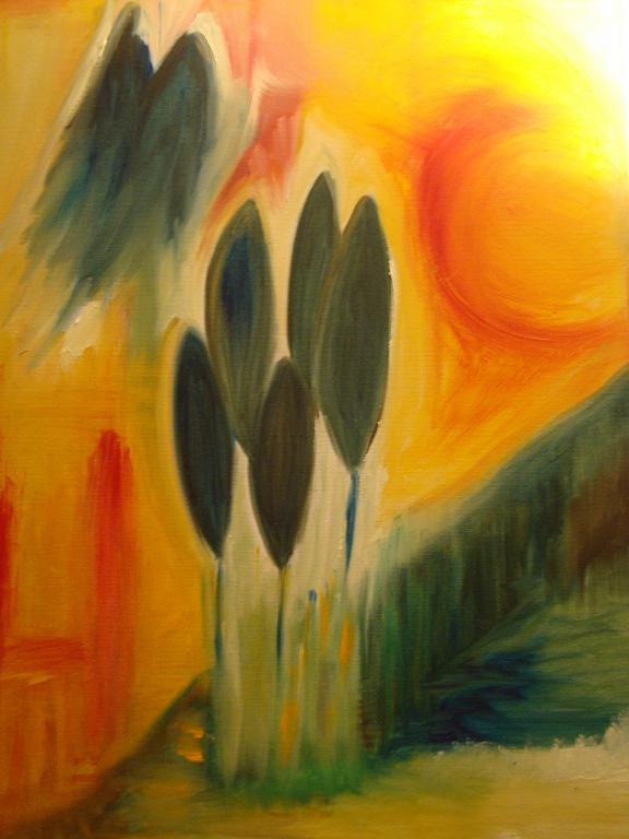 Cipressi nel sole - Andreina Guerrieri - Olio - 600 €