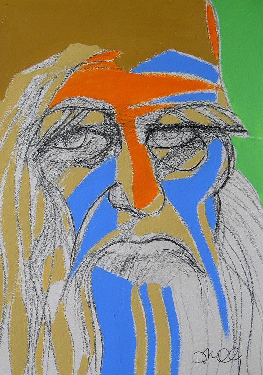 Ritratto di Leonardo da Vinci - Gabriele Donelli - Matita e acrilico - 300 €