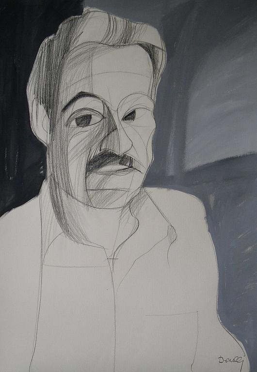Ritratto di Sebastiano Vassalli - Gabriele Donelli - Matita e acrilico - 300 €