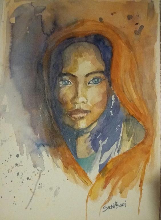 ritratto di giovane indiana - SILVIA RIDOLFI - Acquerello - 200 €