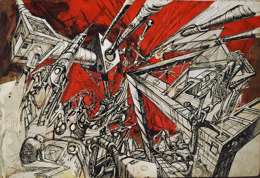 Strumenti-Spazio-Mente 1 - Lucio Forte - Acquerello,  stampe e tempera su tavola