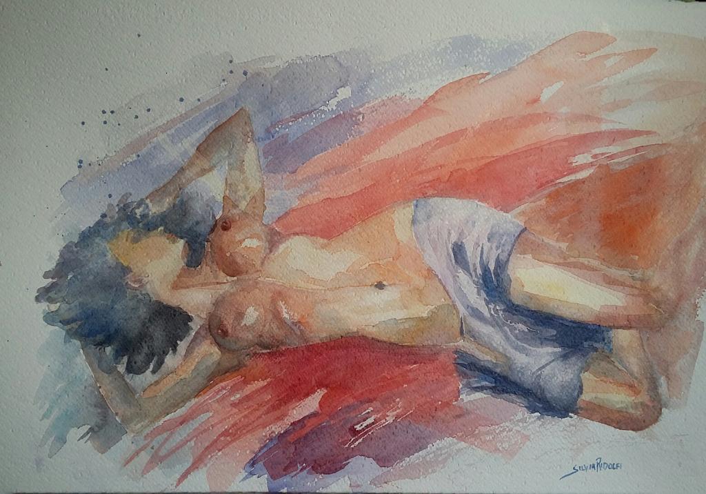 nudo con pareo - SILVIA RIDOLFI - Acquerello - 80 €
