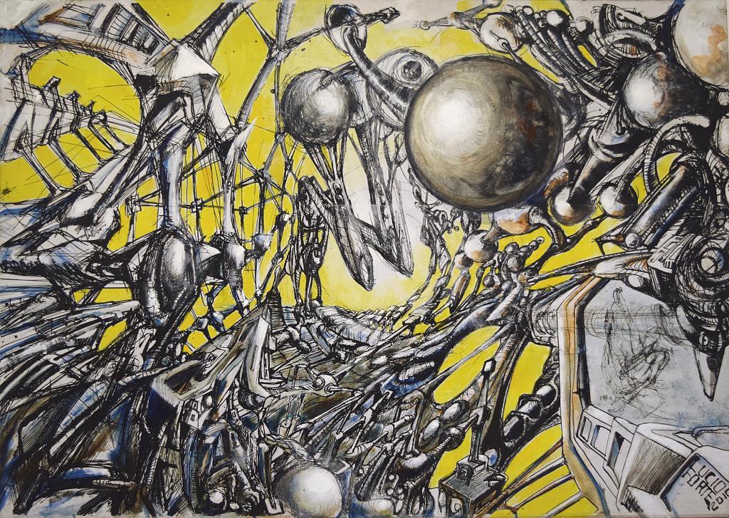 Idee del Tempo 2 - Lucio Forte - Acrilico, acquerello e stampe su tavola - 189 €