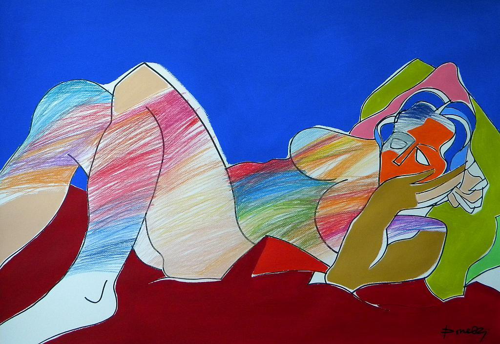 Donna sdraiata - Gabriele Donelli - Pastello e acrilico - 400 €