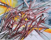 Fysis - Lucio Forte - Acquerello, china, penna a sfera rossa su carta - 200€