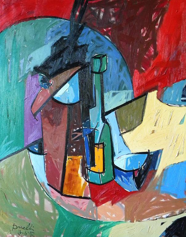 Bottiglia, bicchiere, tazza e altri oggetti su di un tavolo - Gabriele Donelli - Olio - 300 €