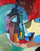 Bottiglia, bicchiere, tazza e altri oggetti su di un tavolo - Gabriele Donelli - Olio - 300€