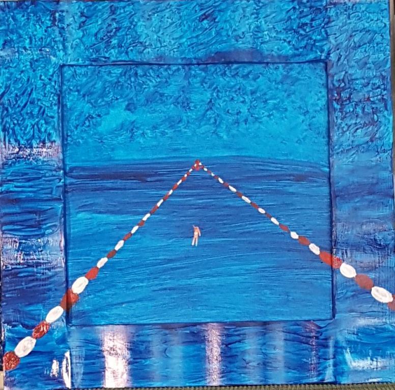 nuoto in solitario - franco scacchi - Acrilico - 150 €