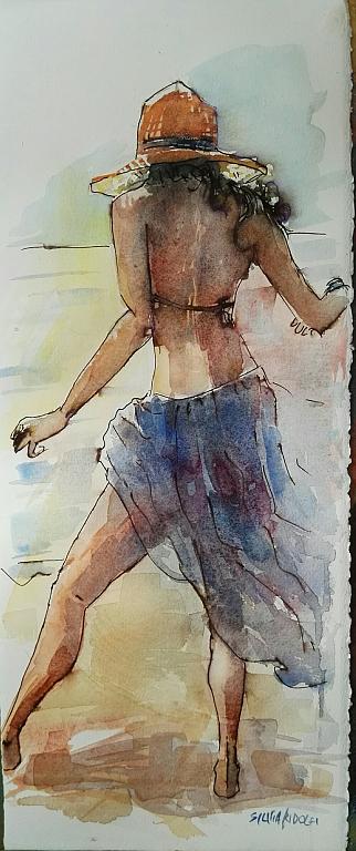 leggera sulla riva - SILVIA RIDOLFI - Acquerello - 180 €