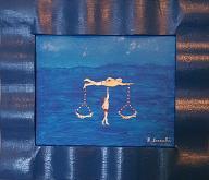 bilancia acquatica - franco scacchi - acrilico collage - 150€